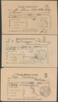 1905-1913 3 db postai feladóvevény klf PADÉ bélyegzésekkel, Gudlin nem említi