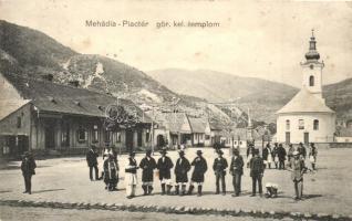 Mehádia, piactér, görögkeleti templom, Sofia Popovits üzlete / Greek Orthodox church, shop, market square (EK)