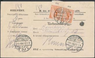 1914 Távbeszélőjegy Turul 2 db ívszéli 1K bérmentesítéssel