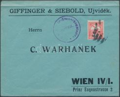1914 Cenzúrás levél Turul 10f bérmentesítéssel katonai néma bélyegzéssel UJVIDÉK - Bécs