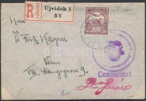 1914 Cenzúrás ajánlott tábori posta levél Turul 35f bérmentesítéssel K.u.K. Quarantainespital Honvedkaserne Újvidék bélyegzéssel Bécsbe küldve