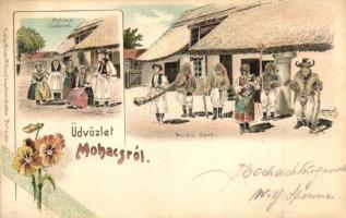 1899 Mohács, Sokacok és Búsók. Kiadja Weiser Miksa, floral litho (EK)