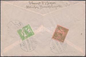 1915 Expressz ajánlott levél Turul 60f és 5f bérmentesítéssel MUNKÁCS - Bécs