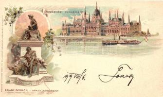 1899 Budapest, Országház, Arany-szobor, Magyar Automatagyár és Kölcsönző Rt. litho (vágott / cut)