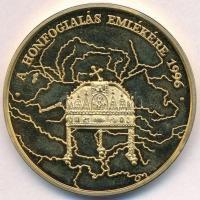 1996. A Honfoglalás emlékére / Honteremtő hadjáratok aranyozott emlékérem (42,5mm) T:1 (PP)