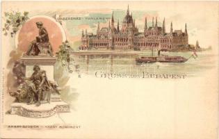Budapest, Országház, Arany-szobor, Müller & Trüb No. 6. litho