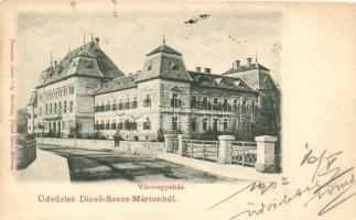 Dicsőszentmárton, Tarnaveni; Vármegyeház. kiadja Jeremiás Áron / county hall