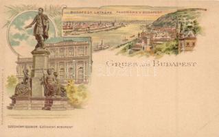 Budapest, Látkép, Széchenyi szobor, Müller & Trüb No. 4. litho