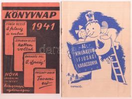 1940-1941 2 db könyves nyomtatvány (1941 Könyvnap, 1940 Az Athenaeum Ifjúsági Karácsonya), különféle méretben és változó állapotban.