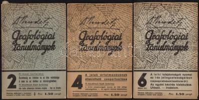 cca 1940 Dr. Bendetz és Társa: Grafológiai tanulmányok 2,4,6. füzet (3 db)