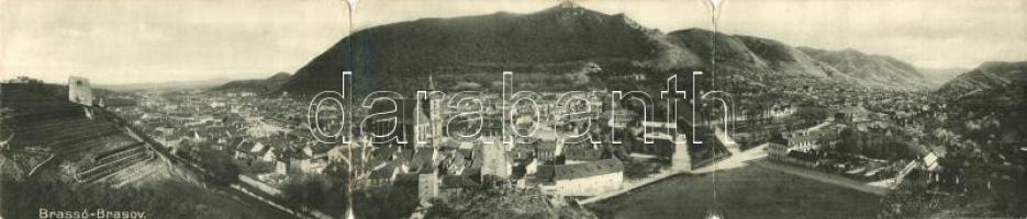 Brassó,Kronstadt, Brasov; Zeidner H. három lapos panorámalapja / three-tiled panoramacard (hajtásnál szakadt / bent til broken)