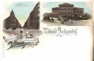 Budapest, Andrássy út, Tudományos Akadémia, floral, Louis Glaser litho