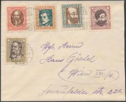 1919 Levél Tanácsköztársasi arcképek sor bérmentesítéssel Bécsbe küldve