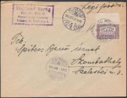 1920 Légi levél Légiposta ívszéli 12K bérmentesítéssel BUDAPEST - Szombathely újévi érkeztetéssel