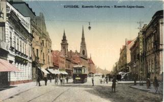 Újvidék, Novi Sad; Kossuth Lajos utca, villamos, bútorház / street, tram, furniture shop (EK)