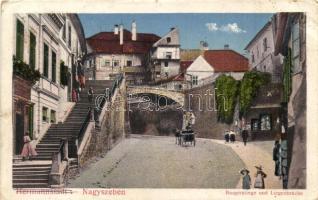 Nagyszeben, Hermannstadt, Sibiu; Várlépcső, híd / Burgerstiege, Liegenbrücke / street, bridge (EK)