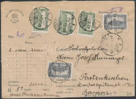 1922 Pénzes levél előlap 20.000 koronáról Parlament 3 x 40K + 15K bérmentesítéssel BUDAPEST Németországba küldve