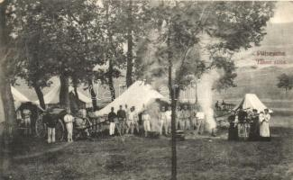 Piliscsaba, Katonai tábor, tábori sütés, kiadja Rigócz József (EK)