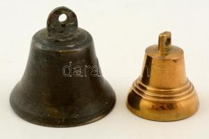 Bronz és réz régi csengő, m:4 és 6 cm