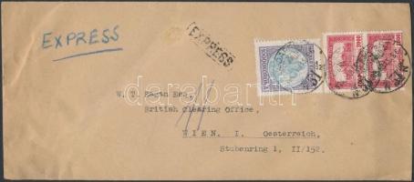 1926 Expressz levél Parlament 2.000K pár és Koronás Madonna 10.000K bérmentesítéssel BUDAPEST - Bécs
