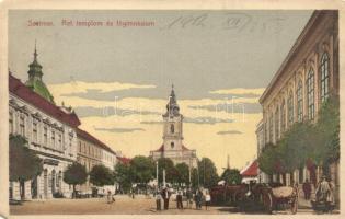 Szatmárnémeti, Satu Mare; Református templom, főgimnázium, Singer varrógép üzlet / Calvinist church, grammar school, shop (EM)