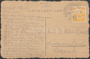 1926 (16. díjszabás) Képeslap Arató 800K bérmentesítéssel BUDAPEST-HEGYESHALOM - Berlin