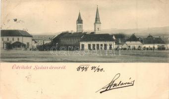 1898 Szászváros, Broos, Orastie; Főtér / main square (ázott sarok / wet corner)