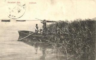 Balatoni élet, kacsa vadászat, csónak