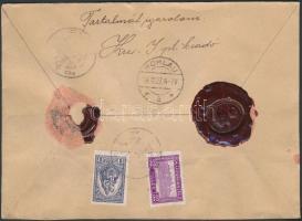1927 Értéklevél 100 marháról 1P 32f bérmentesítéssel PÉCS Németországba küldve gróf Zichy Lujza feladasával