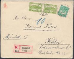 1930 Ajánlott levél Pengő-fillér 6f és 46f pár bérmentesítéssel BUDAPEST - Köln