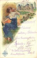 Törley pezsgő, étlap Böczögő József / Hungarian champagne advertisement with menu, art postcard