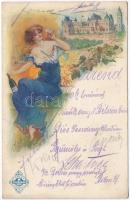 Törley pezsgő, Dreher nagyvendéglő étlap / Hungarian champagne advertisement with menu, art postcard