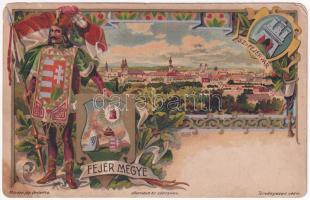 Székesfehérvár, Fejér vármegye címer, zászló, floral, litho; Athenaeum Rt. kőnyomda s: Zich (ázott / wet damage)