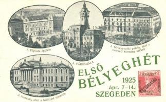 1925 Szeged, Első Bélyeghét; Főposta, Városháza, Törvényszéki palota, So. Stpl