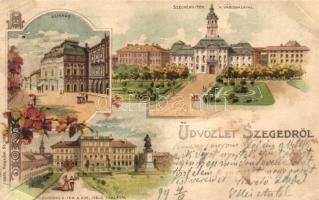 1899 Szeged, színház, Széchenyi tér, Dugonyics tér és Ítélőtábla, floral litho (r)