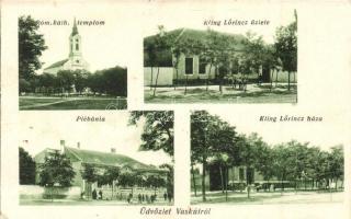 Vaskút, Római katolikus templom, Kling Lőrinc üzlete és háza, plébánia (EK)