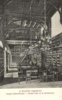 Budapest V. Országház, könyvtár nagyterme, belső, képeslap füzetből