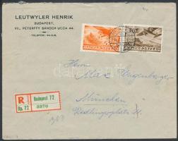 1936 Ajánlott levél Repülő 36f és 52f bérmentesítéssel BUDAPEST - MÜNCHEN / HAUPTSTADT DER BEWEGUNG politikai hirdető bélyegzéssel