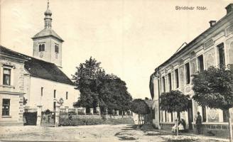 Stridóvár, Strigova; Főtér, templom, Liszt és Brodnyák kiadása / main square, church (Rb)