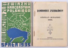 1933-1935 2 db cserkész zsebkönyv, Jamboree zsebkönyv 1933, hiányzó borítóval, Jubileuszowy Zlot Harcerstewa Polskiego 1935, lengyel nyelven.