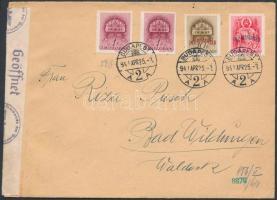 1941 Cenzúrás levél Templom (I.) 2 x 1f + Dél Visszatér 10f és 20f bérmentesítéssel BUDAPEST Németországba küldve