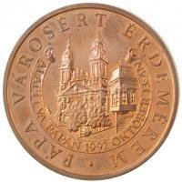 1992. Pápa Városért Érdemérem - Alapítva 1992. október 13-án aranyozott fém emlékérem (50mm) T:2