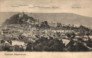 Segesvár, Schässburg, Sighisoara; Látkép, gimnázium, templomok, internátus, óratorony, megyeház, kiadja Petrovits F. / general view, grammar school, boarding school, clock tower, county hall, churches (EK)