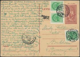 1942 Cenzúrás díjjegyes levelezőlap Templom 3 x 6f díjkiegészítéssel PEKIR - Stockholm
