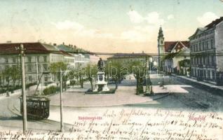 Sopron, Széchenyi tér, villamos, kiadja Novák László