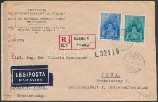 1943 Ajánlott légi levél az Országos Földrengésvizsgáló Intézettől Templom 40f és 50f bérmentesítéssel BUDAPEST - Jena