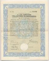 Budapest 1942. A Magyar Királyság 3%-kal Kamatozó Törlesztéses Államadóssága kötvénye 100P-ről szárazpecséttel és szelvényekkel (3x) sorszámkövetők T:III