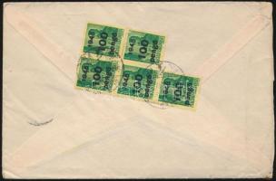 1945 Inflációs levél Kisegítő 5 x 100P/12f bérmentesítéssel BUDAPEST - Ohio (USA)