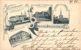 1898 Szombathely, Püspöki palota, székesegyház, árvaház, evangélikus templom, polgári és felső kereskedelmi iskola, kiadja Gabriel Ágoston / bishops palace, churches, orphanage, school
