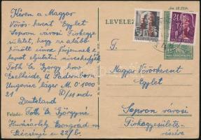 1946 Távolsági levél Betűs Távolsági levél/18f és Ajánlás/24f bérmentesítéssel HÓDMEZŐVÁSÁRHELY - Sopron